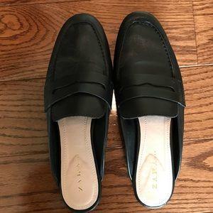 Zara Black Leather Mules 38